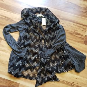 NWT A'reve open front jacket chevron with sequins